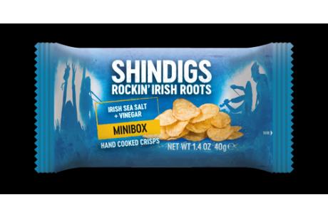 Shindigs Minibox Handcooked Crisps Irish Sea Salt and Vinegar 40g